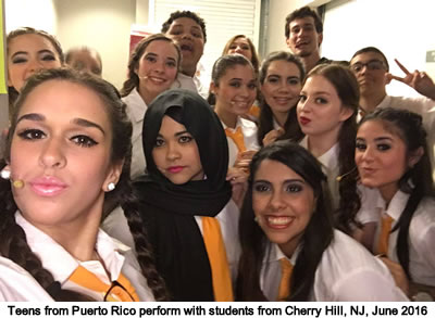 Students from the Colegio Ponceño Musical Theater Teen Troupe in Ponce, Puerto Rico perform in the Philadelphia area in 2016 for a collaboration with local students